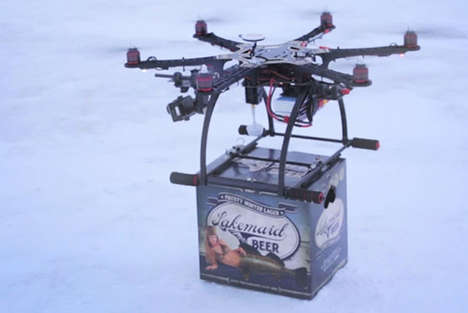Beer-Delivering Helicopters - This Beer Drone Delivers Directly to You Without You Having to Move