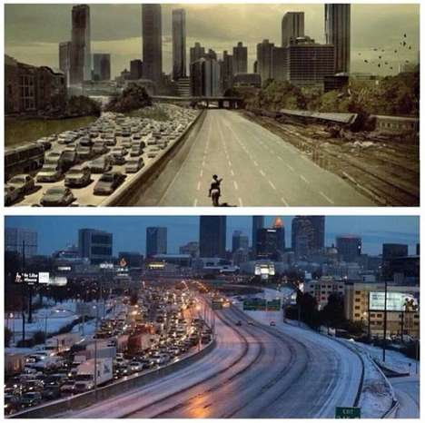 Haunting Pop Culture Blizzards - The Surprise Atlanta Snow Storm Had the City Looking Zombified