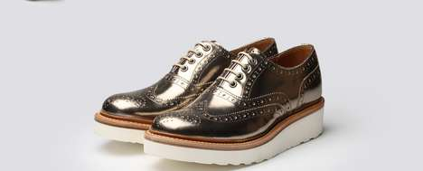 Metallic Androgynous Oxford Platforms - The Emily Shoe Mixes Menswear with Feminine Glamour