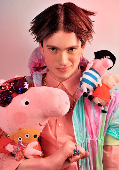 Inner Child Menswear Editorials - The Pink is for Boys! Fashion Story Features Kid-Approved Props