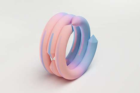 Colorful Chalk-Like Jewelry - Gradient Bangles by Maiko Gubler are Vibrantly Futuristic