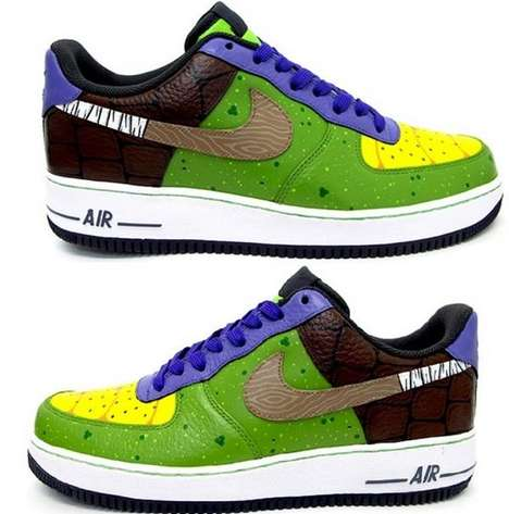 Slick Turtle Kicks - The Custom Donatello Nike Air Force Sneakers are Perfect for TMNT Fans