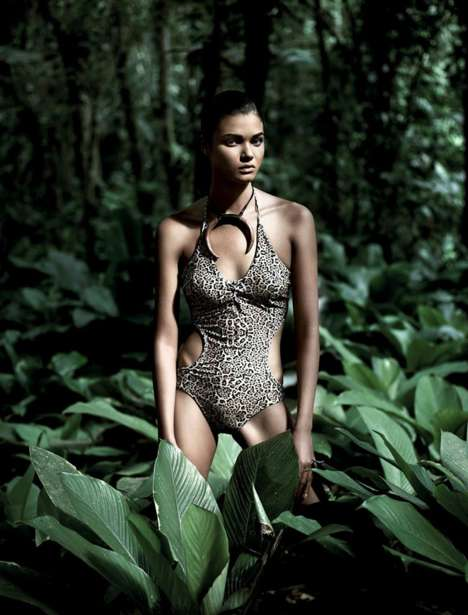 Smoldering Jungle Swimear Editorials - Daniela Braga Stars in Harper's Bazaar Brasil January 2