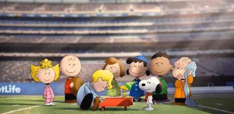 Comic Character Football Anthems - MetLife Stadium Has Peanuts Characters Kick Off the Super Bowl