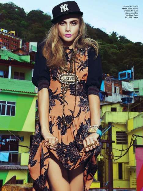 Flirty Feminine Streetwear - Cara Delevingne Stars in this Vogue Brasil February 2014 Editorial