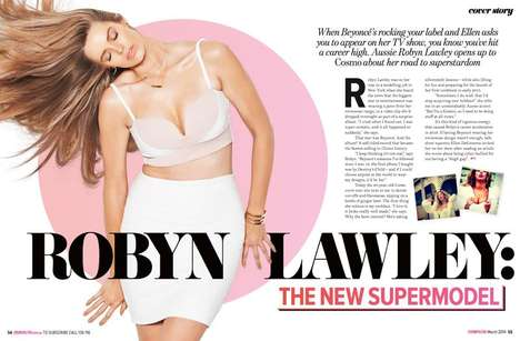 Curvy Midriff-Baring Models - The Cosmopolitan Australia March 2014 Cover Shoot Stars Robyn Lawley