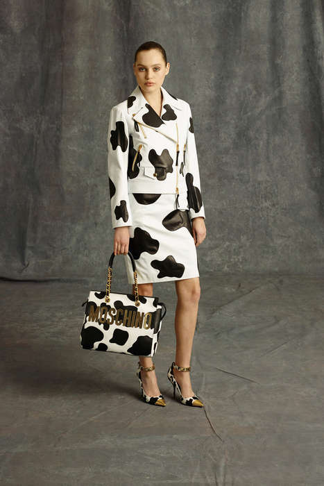 Bold Cow-Printed Couture - The 2014 Moschino Pre-Fall Collection Features a Variety of Bold Prints