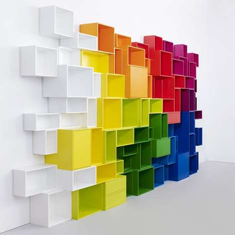 Vibrant Geometric Book Shelves - This Vivid Book Shelf is Large in Size and Presence
