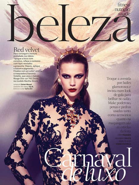 Bedazzled Carnival-Themed Editorials - This Vogue Brazil February 2014 Editorial is Theatrical