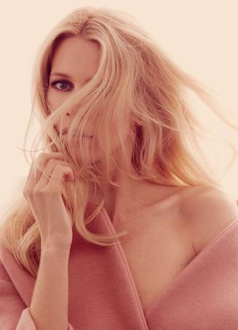 Softly Enchanting Editorials - The Marie Claire UK March 2014 Cover Shoot Stars Claudia Schiffer