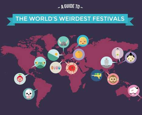 Wacky World Festival Graphics - This Infographic Looks at Some of the Most Bizarre World Festivals