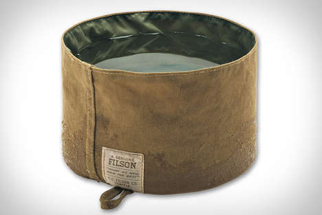 Rugged Canine Containers - The Tin Cloth Dog Bowl by Filson is a Stylish Way to Feed a Pup