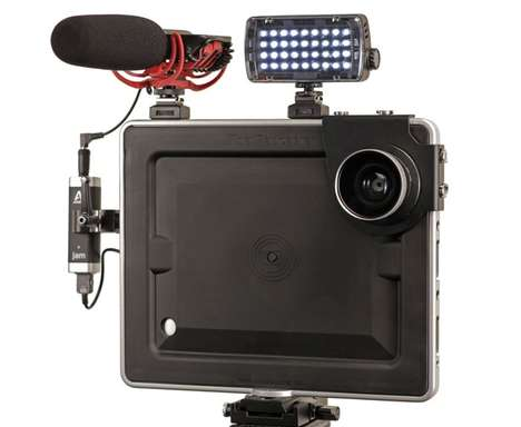 Portable Tablet Filmmaking Kits - The Padcaster Mini is a Filmmaking Kit Attached to an iPad Mini