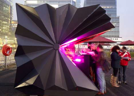 Opening Origami Pavilions - The Make Kiosk Unfolds Like Paper to Provide Pop-Up Outdoor Shops