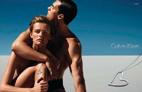 Bronzed Couple Fashion Ads - Calvin Klein Watch and Jewelry SS14 Campaign Stars Edita Vilkeviciute
