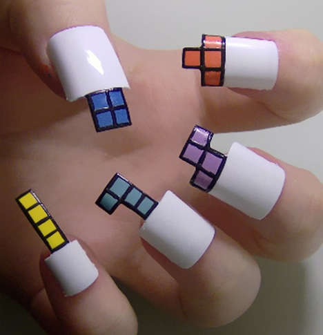 Geometric Video Game Nails - Kayleigh O'Connor Makes Her Nails an 8-Bit Affair