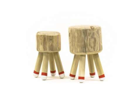 Matchstick-Inspired Stools - This Matchstick Stool Created by Erin Moore is Funky and Fun