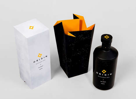 Logo-Copying Cartons - Origin Gin Packaging Turns an Emblem into the Box's Opening
