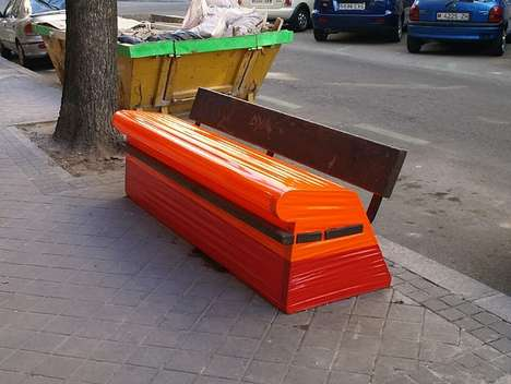 Tape-Bound Benches - The Potencial Escultorico Series Closes Off Voids with Color