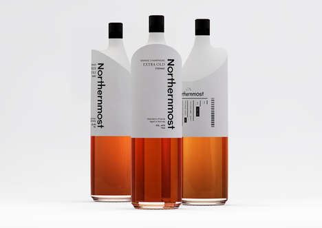 Sloped Bottle Branding - Northernmost Cognac Packaging Features an Unusually Inclined Vessel Design