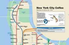 Caffeinated City Maps - Butterfruit Labs Edited the Subway Map to Find the Best Coffee in NYC