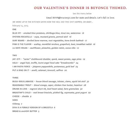 Pop Diva-Inspired Menus - This Punny Beyonce-Themed Menu is for the Hip and Modern Couple