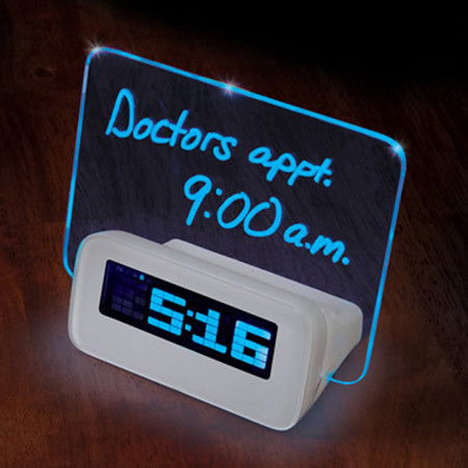 Illuminated Dry-Erase Clocks - Never Forget an Appointment with the Written Reminder Alarm Clock