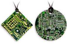 Eco Geek Necklaces - Recycled Circuit Board Pendants