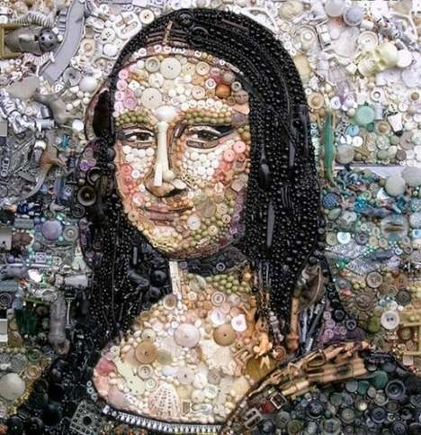 Intricately Beaded Famous Paintings - These Paintings Do Away with the Paint for Beads and Buttons