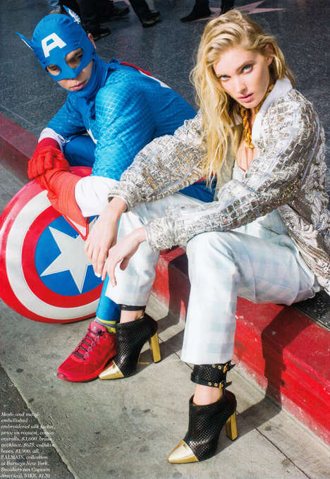 Heroic Haute Couture Editorials - Arthur Elgort Shot Elsa Hosk for Elle US March 2014