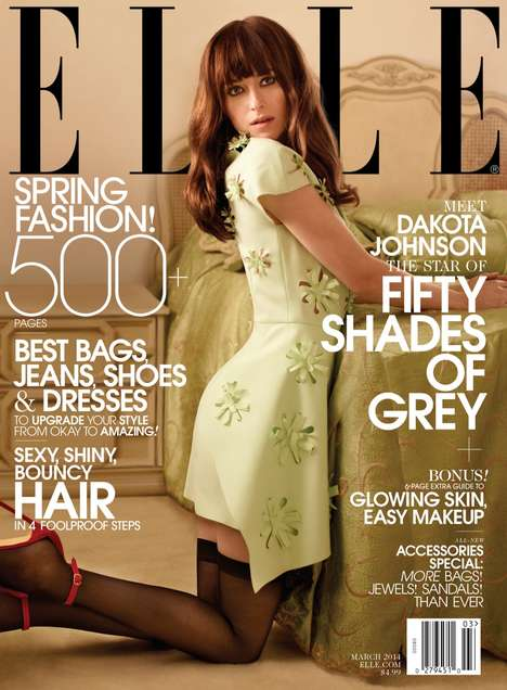 Boudoir Celeb Editorials - The ELLE US March 2014 Cover Shoot Stars Actress Dakota Johnson
