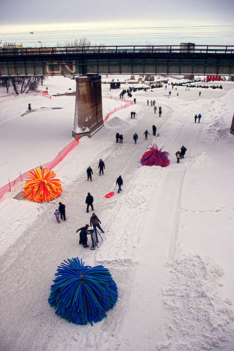 Pom Pom-Inspired Structures - Nuzzles by RAW Design Invites Skaters to Nestle Inside to Keep Warm