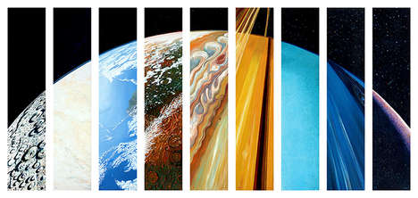 Multi-Planetary Oil Paintings - This Planet Painting Blends Nine Planets into One