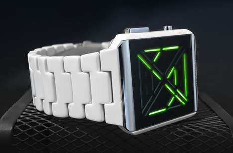Illuminating Animated LED Timepieces - The Tokyoflash Kisai X Acetate Watch Boasts a White Casing