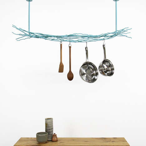 Tangled Pan Hangers - The Merkled Pot Rack is a Web Woven from Scrap Steel Threads