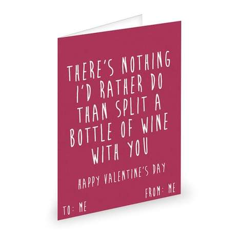 Sarcastic Self-Loving Cards - These Humorous Valentine's Cards Comfort Singles