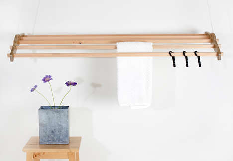 Ceiling-Mounted Clotheslines - A Wooden Towel Rack with a Pulley System is Easy and Convenient