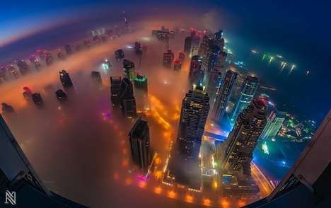 Bustling City Light Photography - The Rooftop Photography Series of the Dubai Cityscape is Stunning