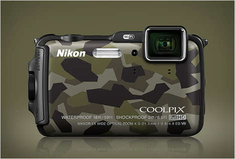 Army-Inspired Digital Cameras - The Nikon Coolpix AW120 Camouflage is Rugged and Stylish