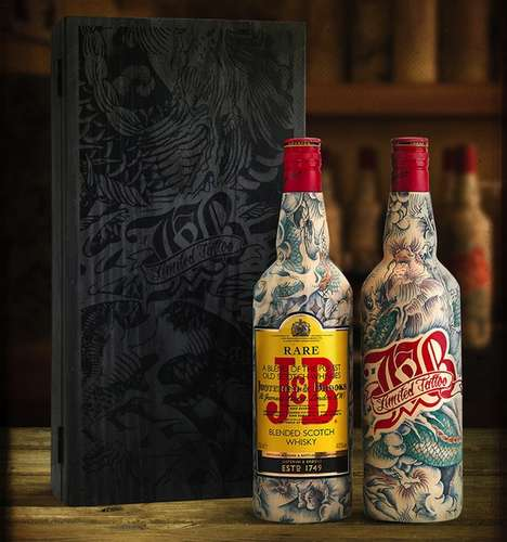 Vintage Tattooed Scotch Packaging - The New Limited Edition J&B Scotch Whiskey Pays Homage to Ink