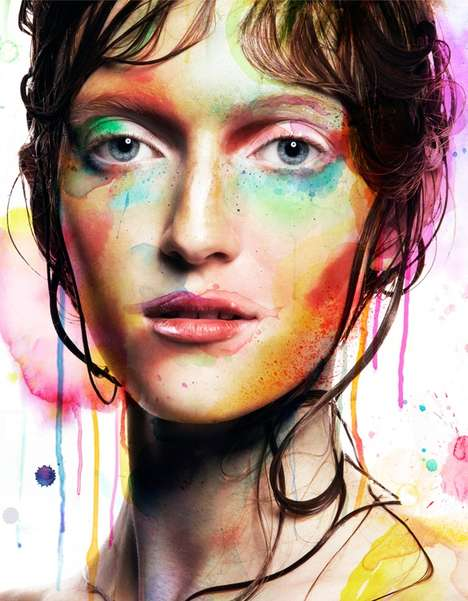 Watercolor Beauty Captures - The Canvas Beauties Editorial for Veoir Magazine is Paint-Infused
