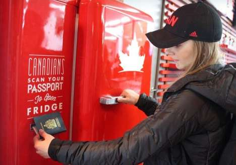 Passport-Scanning Refrigerators - The Molson Canadian Beer Fridge Gives Out Free Beers to Canadians