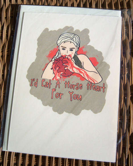 Heart-Eating Valentine Cards - This Nerdy Valentine's Day Card is from 'SweetGeek'