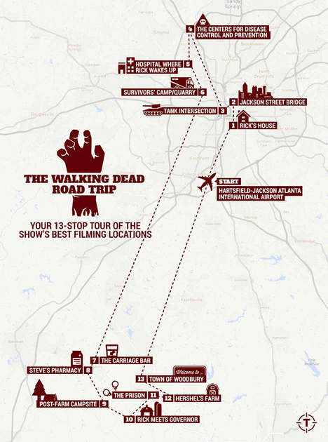 Famous TV Location Maps - This Walking Dead Map Takes Fans on a Tour of Filming Locations in Atlanta