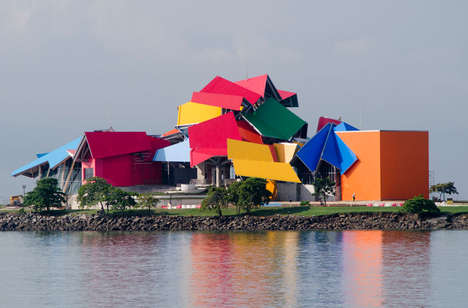 Vibrant Block-Like Architecture - Panama Biomuseo's Unique Architecture is Vibrant and Symboli