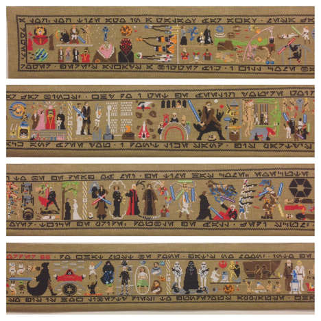 Geeky Movie Trilogy Tapestries - This Star Wars Tapestry Retells the Entire Two Trilogies