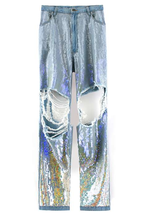 Stylishly Torn Sequin Trousers - These Sequin Jeans From Ashish are Grungy Glam