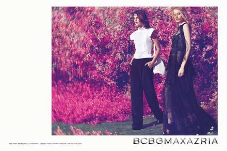 Floral Vortex Fashion Ads - The BCBG Max Azria SS14 Campaign Stars Stephanie and Charlotte
