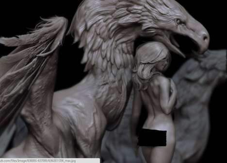 Provocative Fantasy Statues - This Griffin Statue is a Sensual Tribute to Fantasy