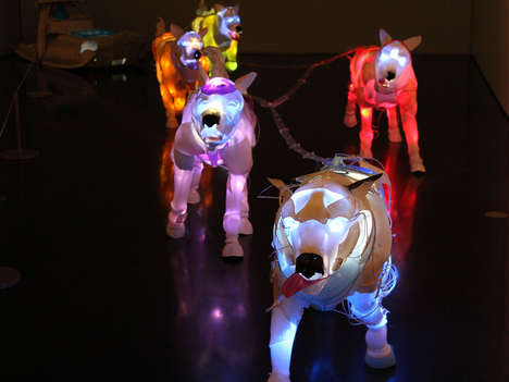Random Material-Illuminated Animals - Pack Dogs is a Glow-in-the-Dark Exhibit That Uses Old Garbage